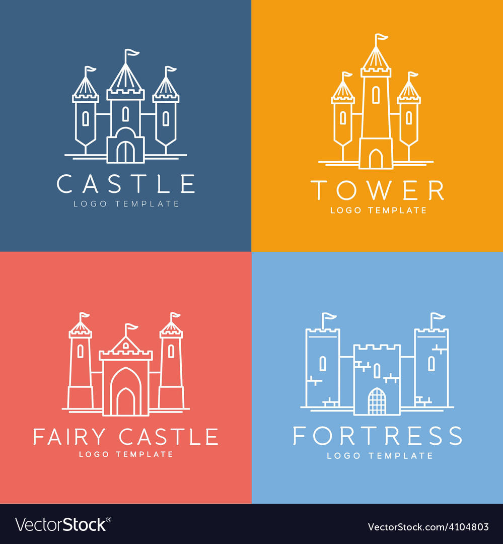 Abstract Castle Line Style Logo Template
