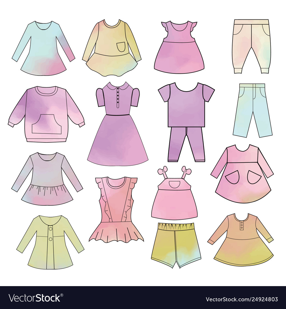 Babies fashion collection hand drawn watercolor