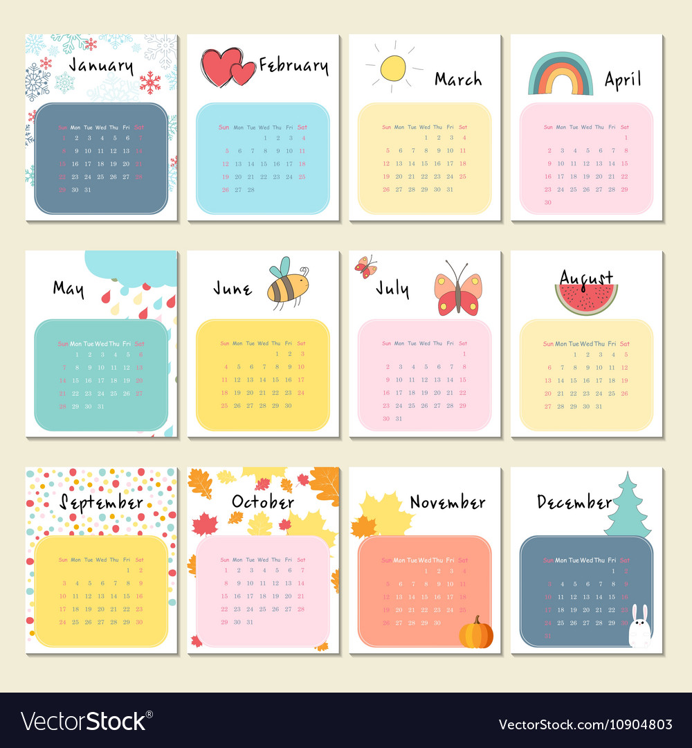 Calendar 2017 with cute animals insects and other