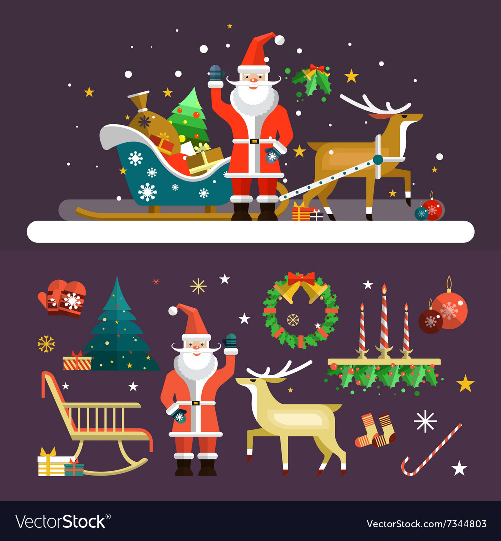 Christmas and New Year icons set in flat vector image
