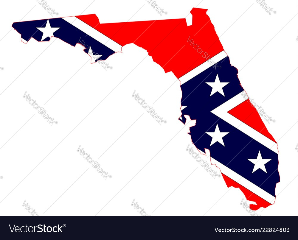 Florida Map And Confederate Flag Royalty Free Vector Image