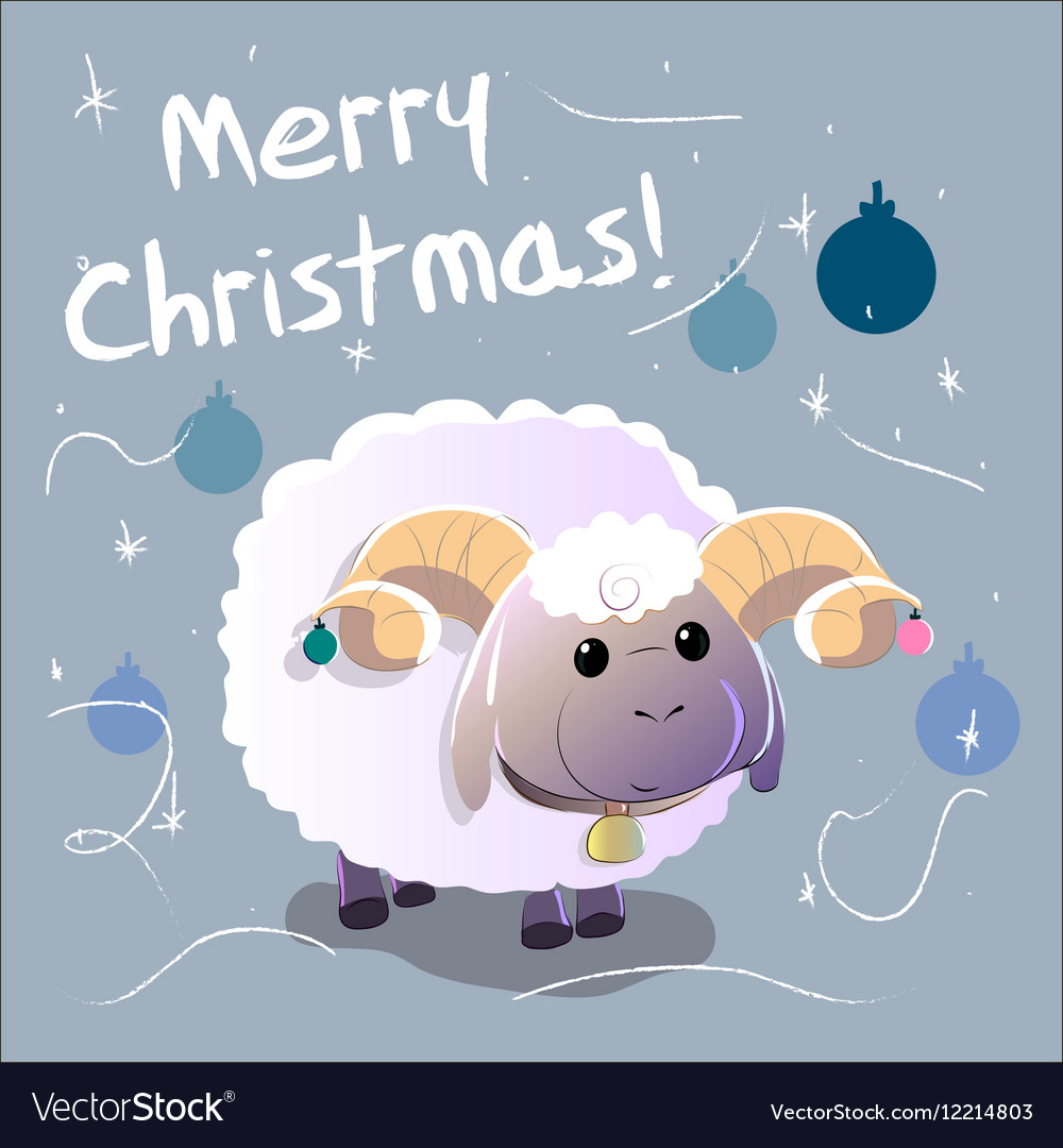 Greeting Card with sheep Text Merry Christmas and