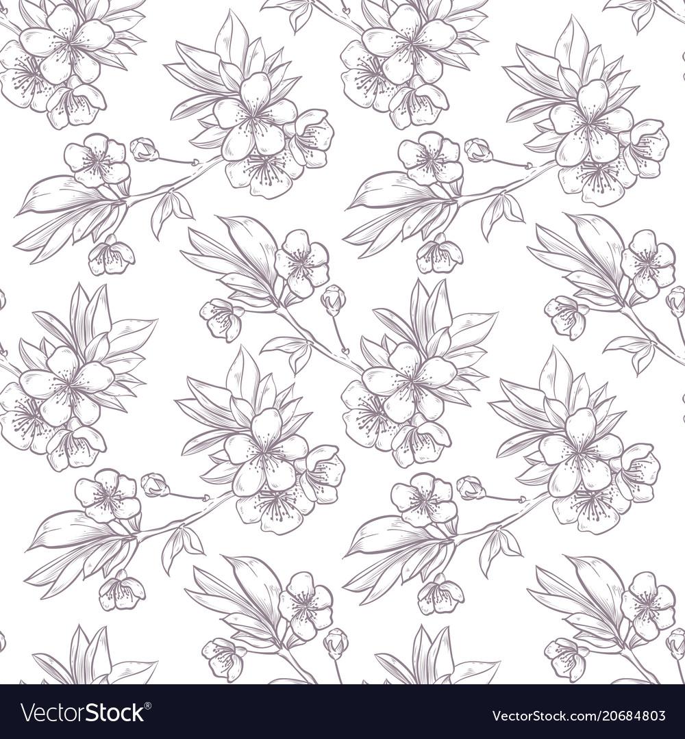 Hand drawn sakura seamless pattern