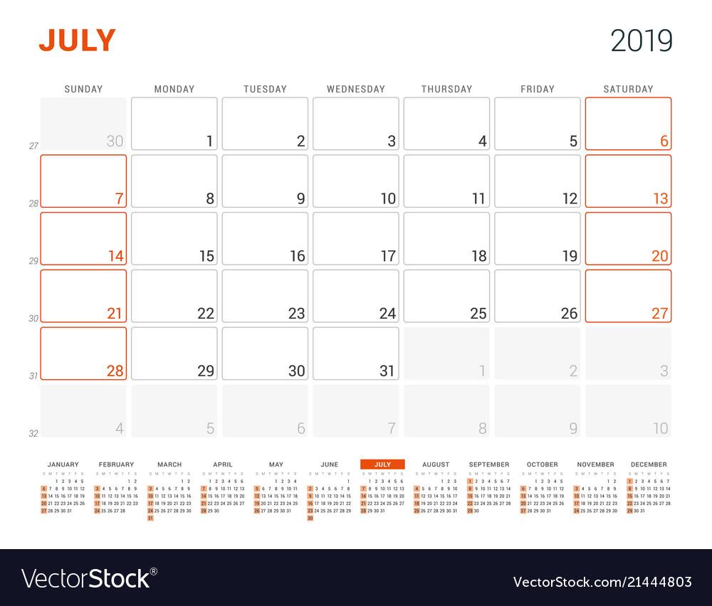 July 2019 calendar planner for 2019 year design