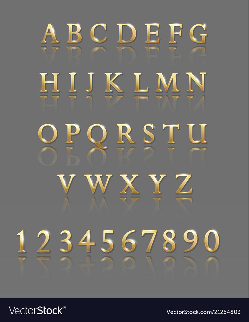Letters and numbers gold alphabet