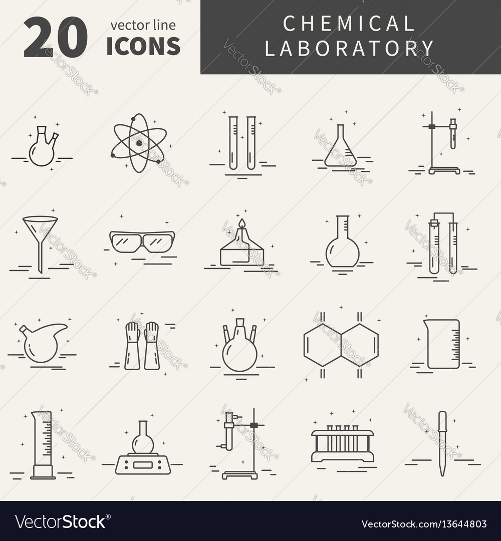 Set of icons with chemical laboratory equipment vector image ccuart Gallery