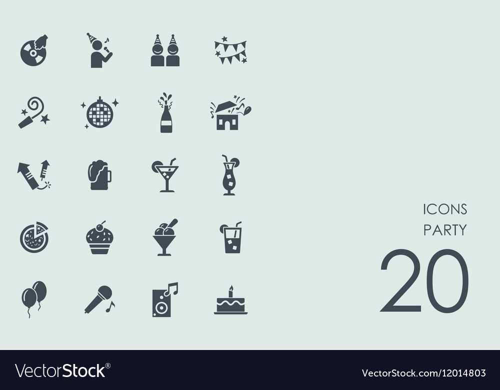 Set of party icons vector image