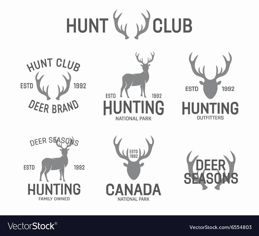 Set of vintage hunting and deer logo and label