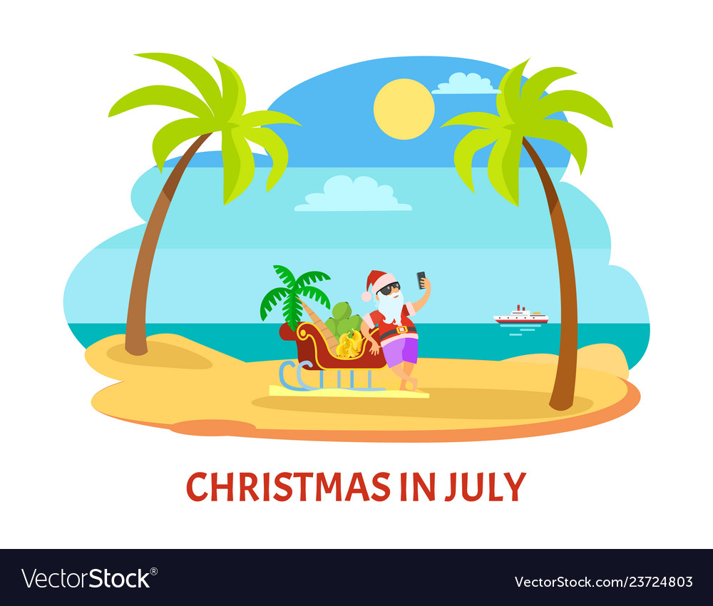 Christmas In July Santa Clipart.Summer Christmas In July Shooting On Beach
