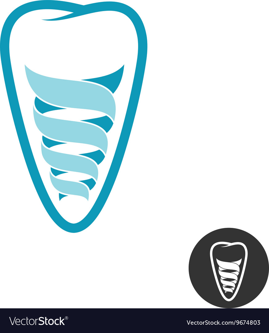 Tooth implant logo Teeth outline symbol with