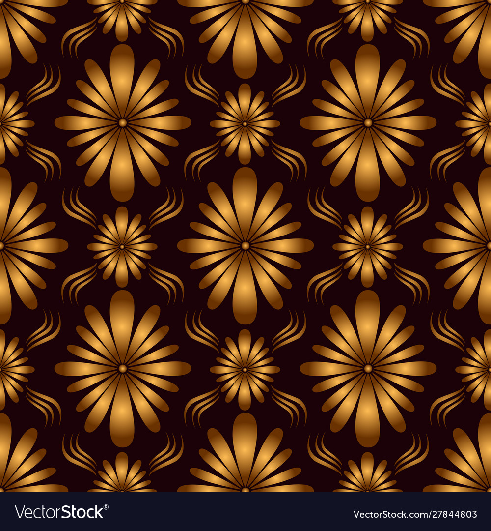 Vintage geometric flowers seamless pattern golden vector
