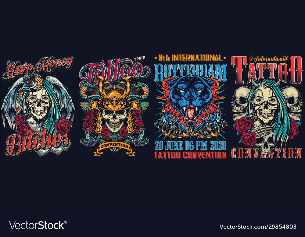 Vintage tattoo fests colorful posters
