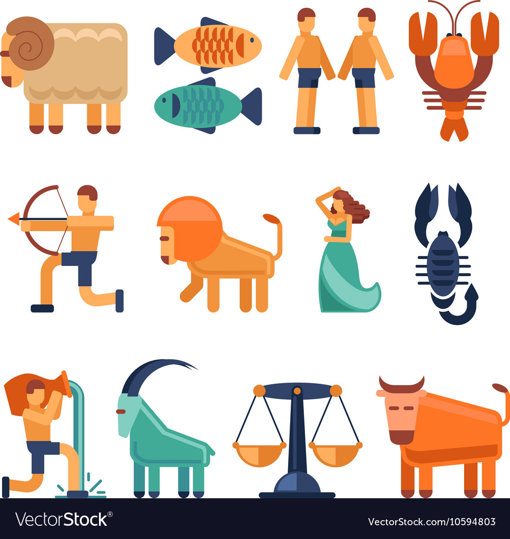 Zodiac signs in flat style and astrological icons
