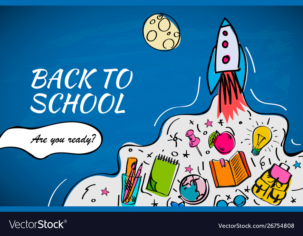 Back to school banner poster with doodles