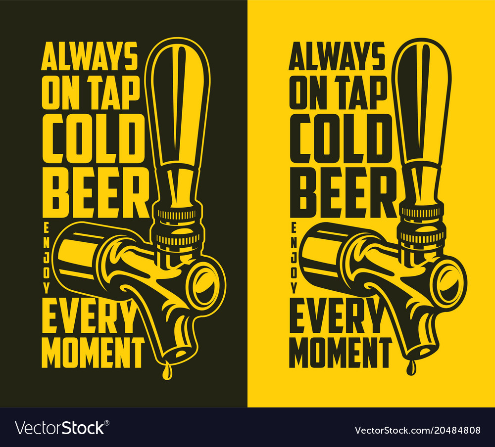 Beer tap with advertising quote vector image