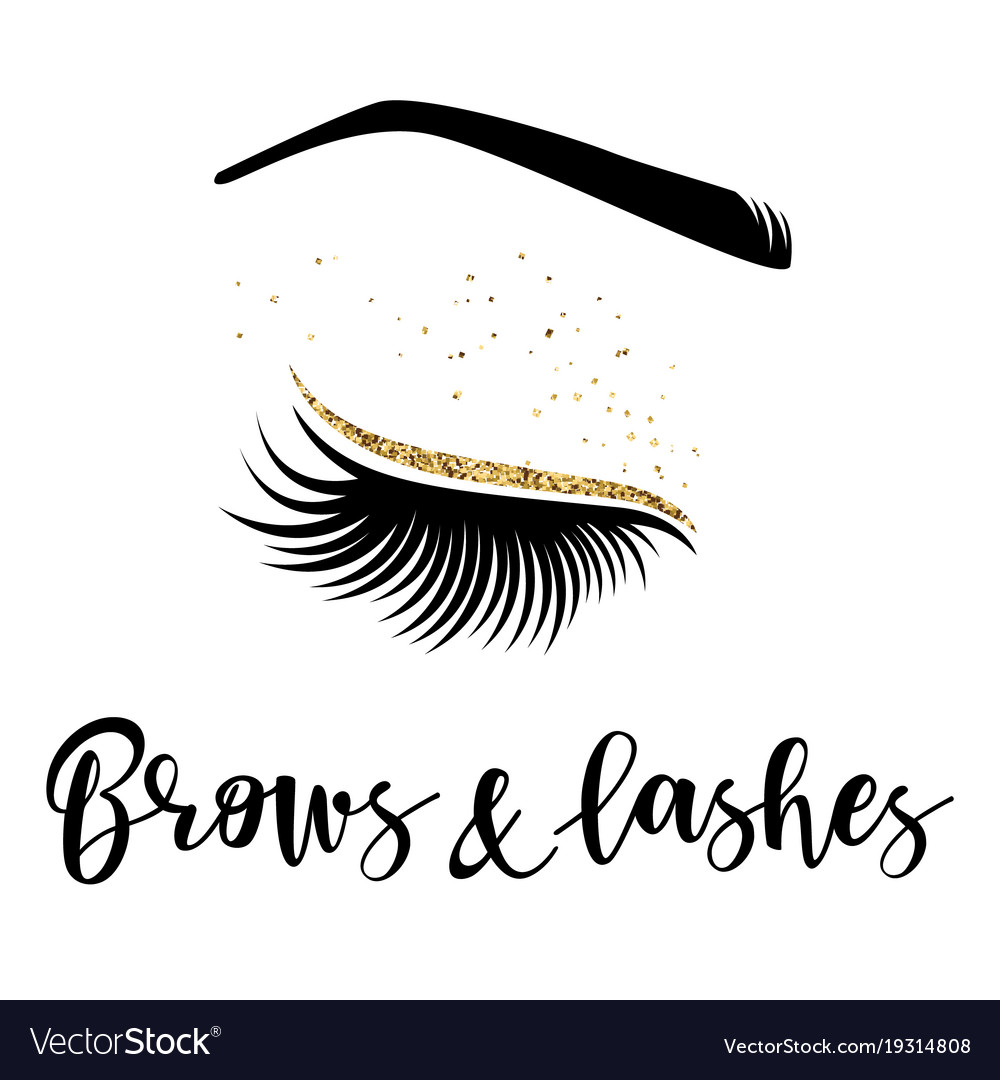 2e35bd0ef42 Brows and lashes logo Royalty Free Vector Image