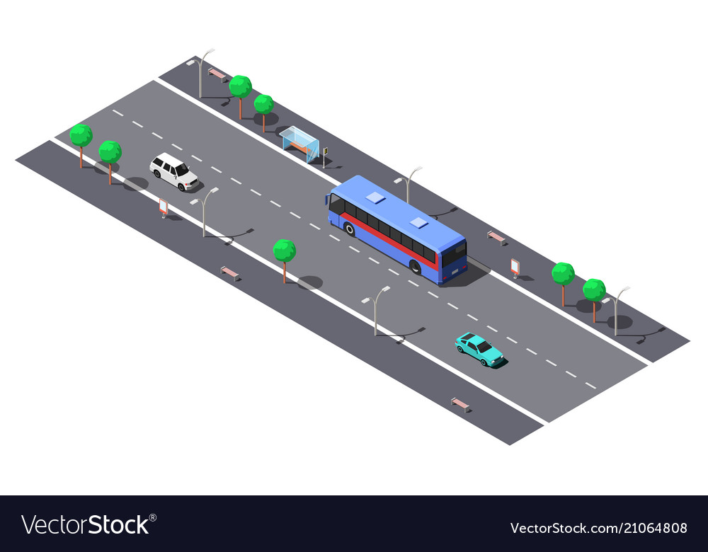 City street with 2-lane road and bus stop