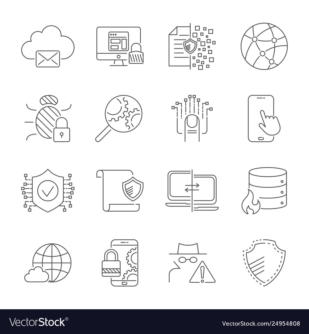 Data protection and security network icons set