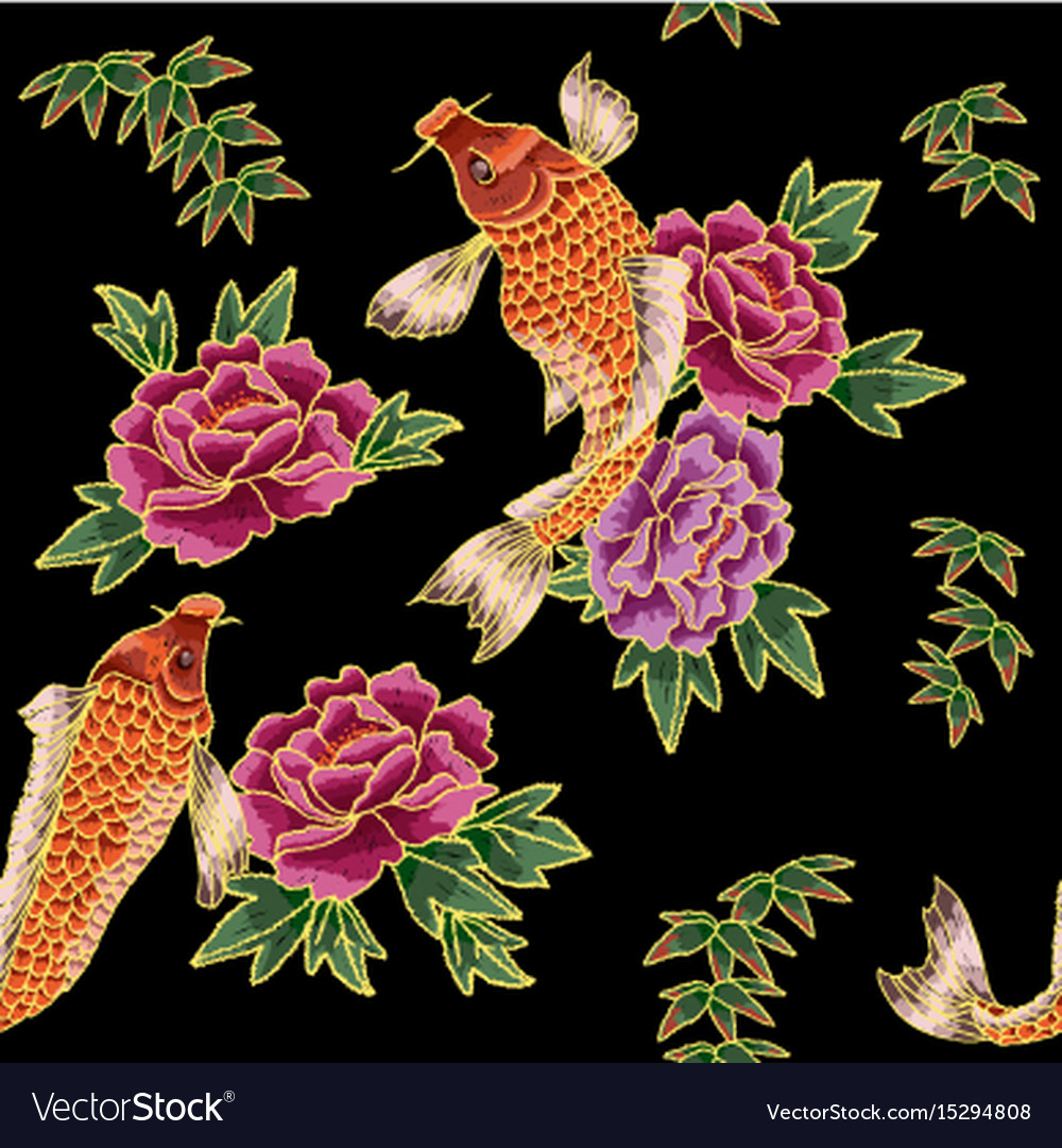 Embroidery with japanese carp and flowers vector image