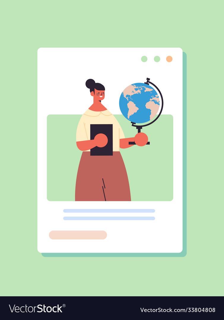 Female teacher holding globe labor day concept
