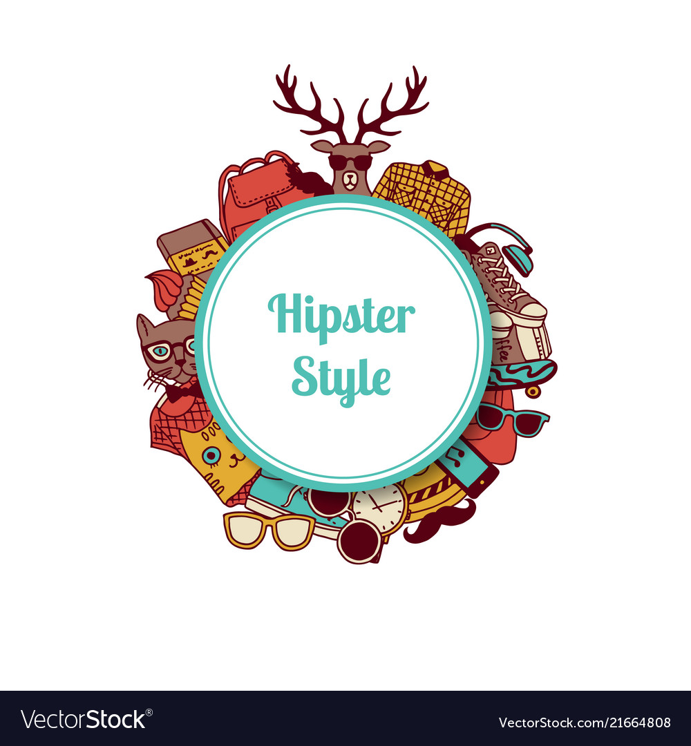 Hipster doodle icons circle on white
