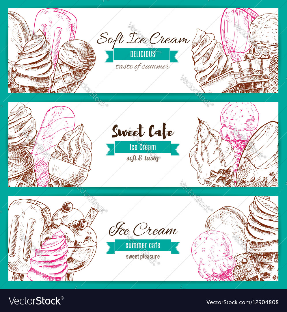 Ice cream desserts sketch banners set
