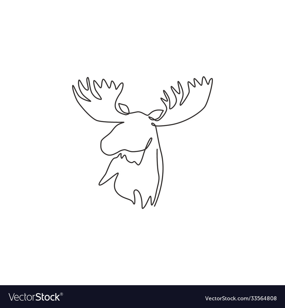 One continuous line drawing gallant moose head