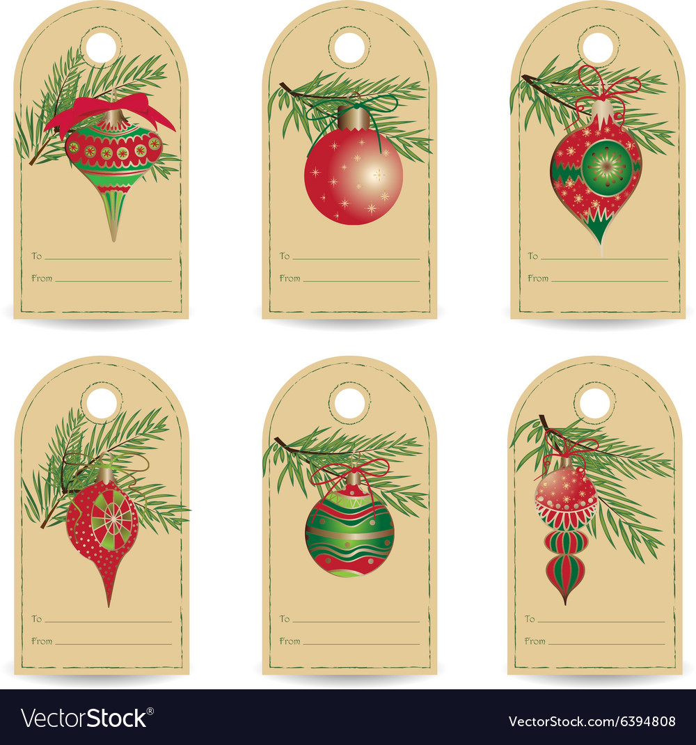 Set of vintage Christmas gift tags Royalty Free Vector Image