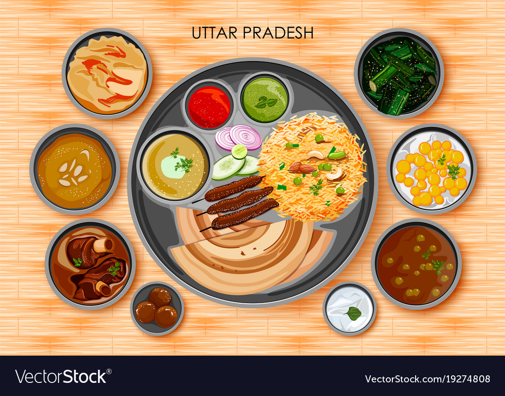Traditional cuisine and food meal thali of uttar