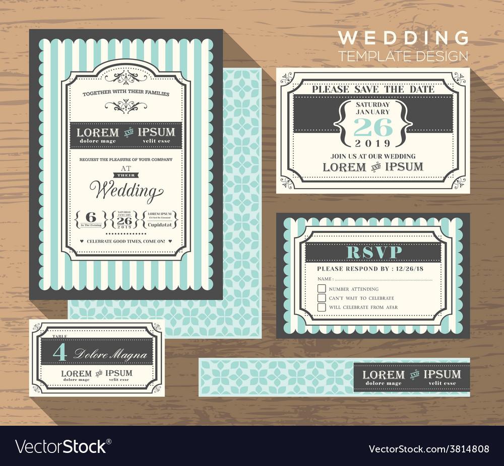 Wedding card invitation set design Template