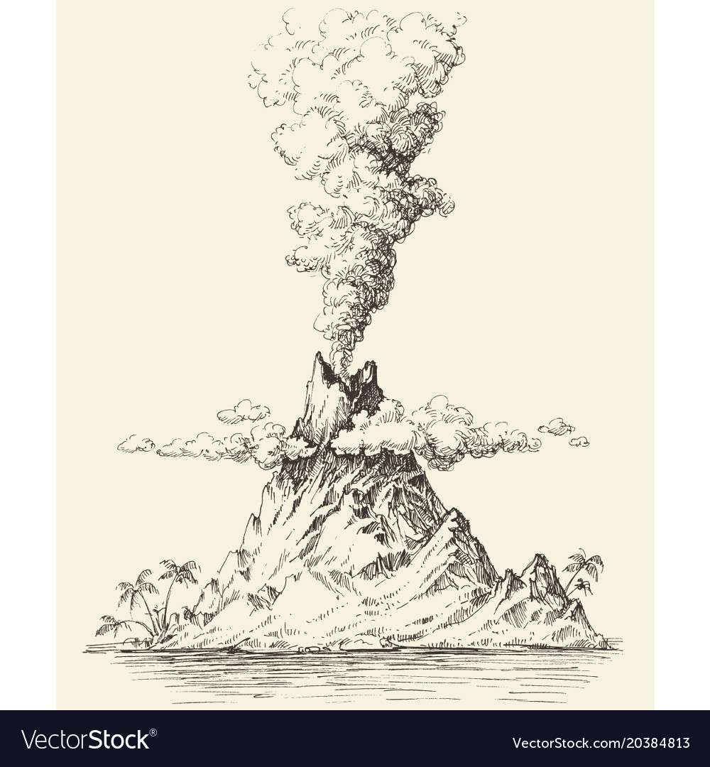 Active volcano drawing volcanic eruption