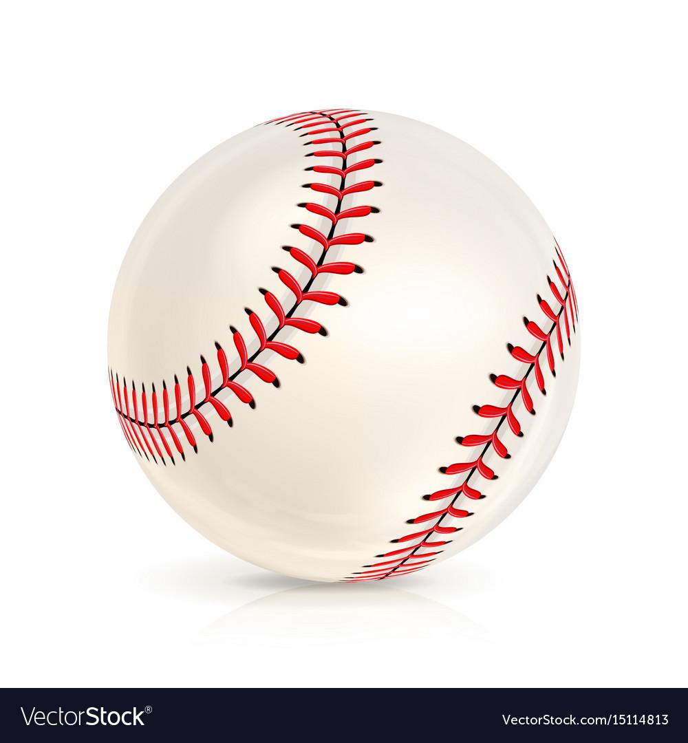 Baseball leather ball close-up isolated on white
