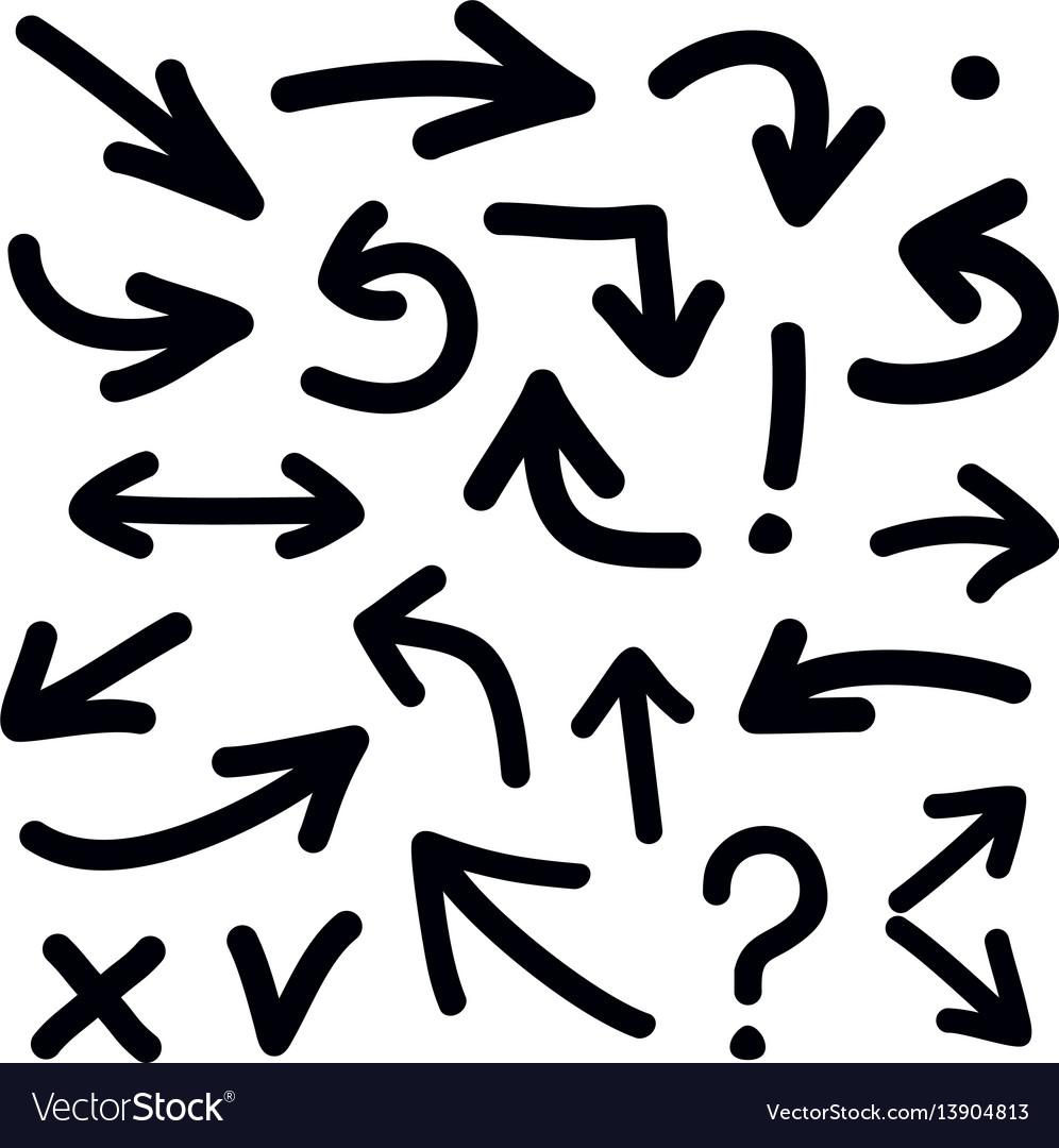 Black arrow icon set isolated on white background