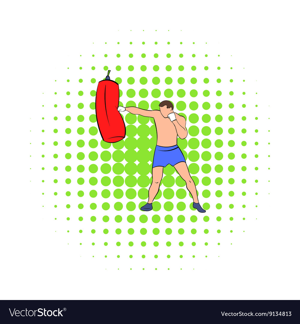 Boxer hitting the punching bag icon comics style vector image