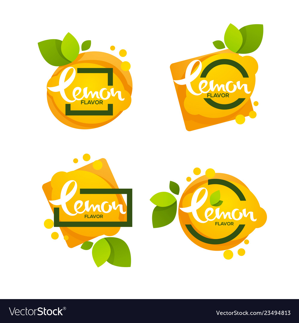 Bright sticker emblem and logo for lemon citrus