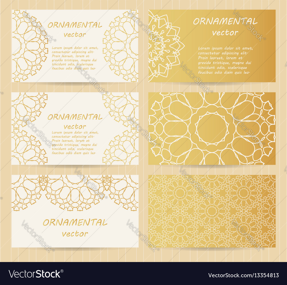 Business cards 35 x 2 inch size set golden vector image reheart Choice Image