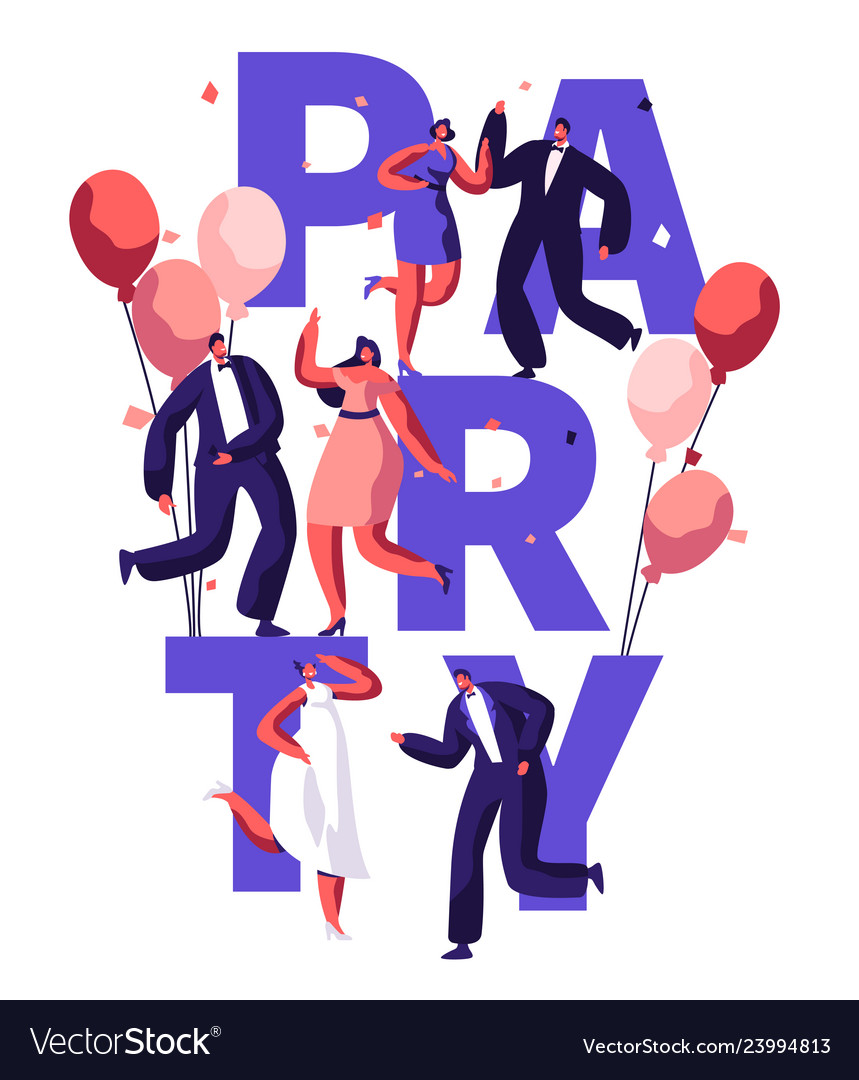 Dance party birthday typography banner
