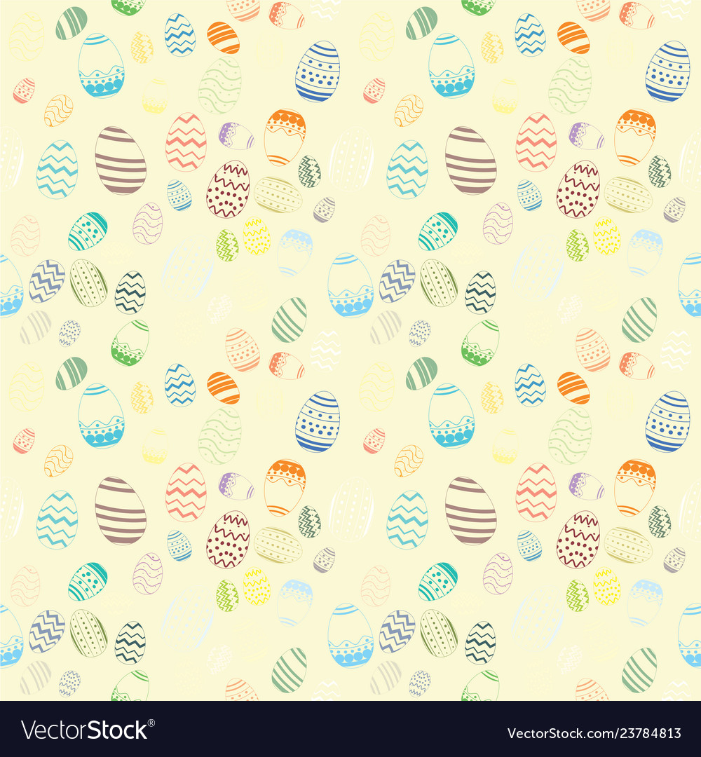 Decorative easter egg draw seamless pattern