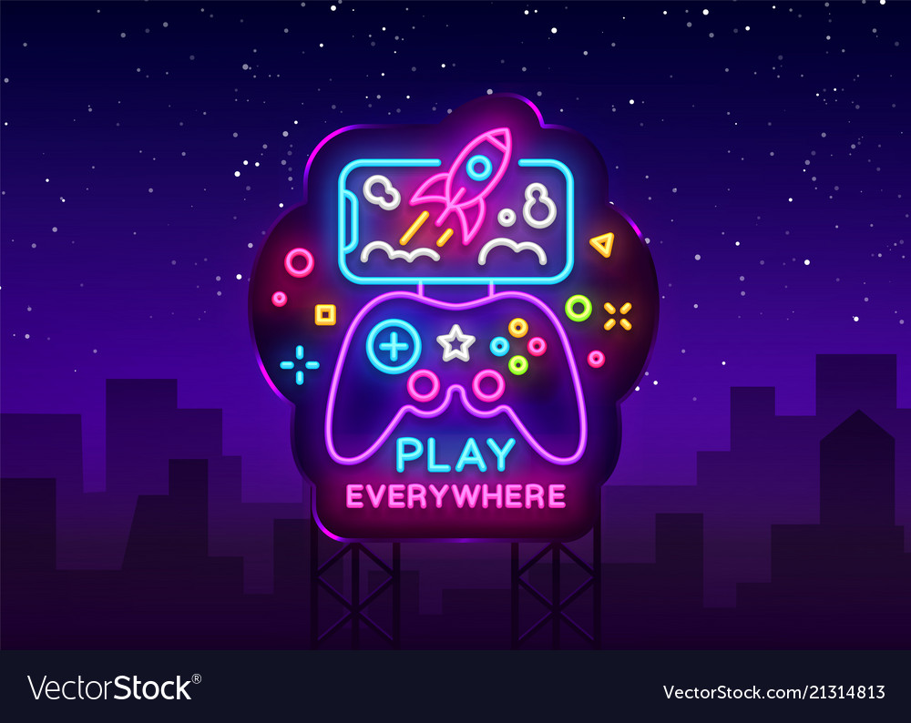 Gamepad and smartphone neon sign games for