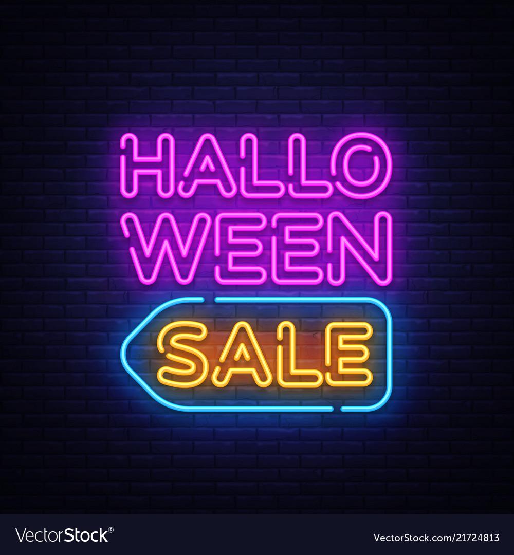 Halloween sale text halloween sale neon