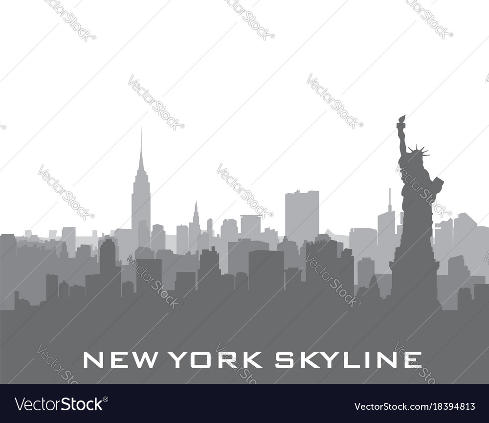 New york usa skyline american city silhouette
