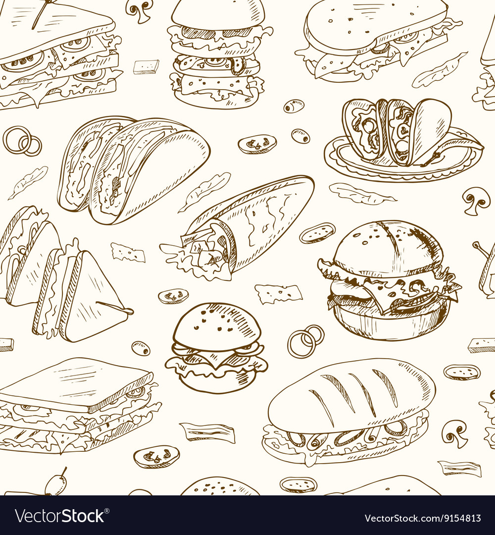 Sandwiches seamless pattern vector image