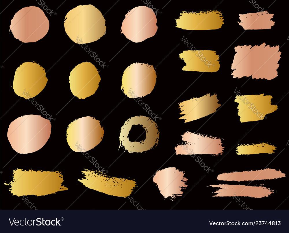 Set of golden style brush strokes design element