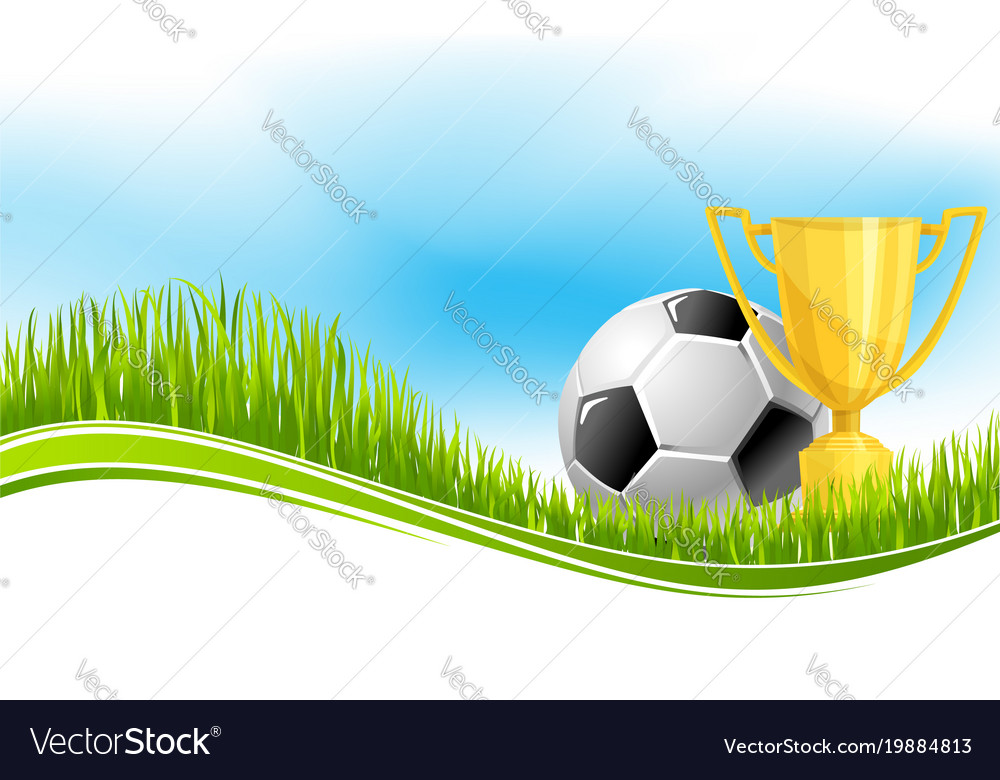 Soccer Ball And Football Trophy Banner Design Vector Image