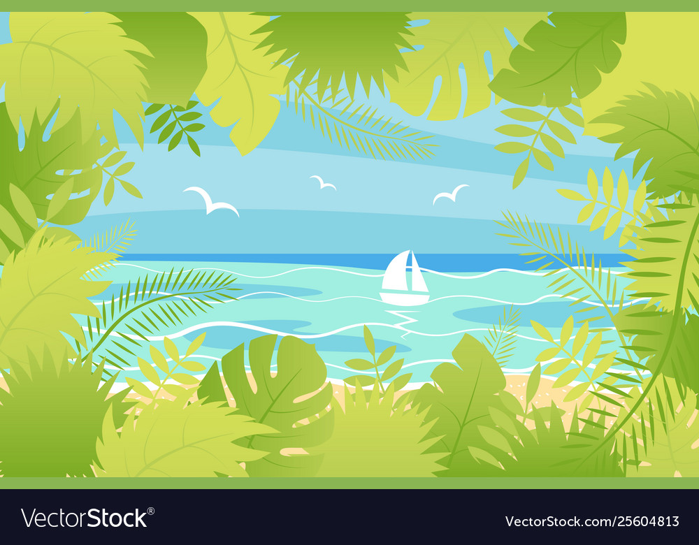 Summer landscape in flat style vector