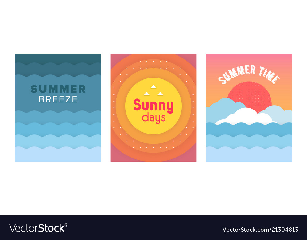 Unique artistic summer cards set with bright