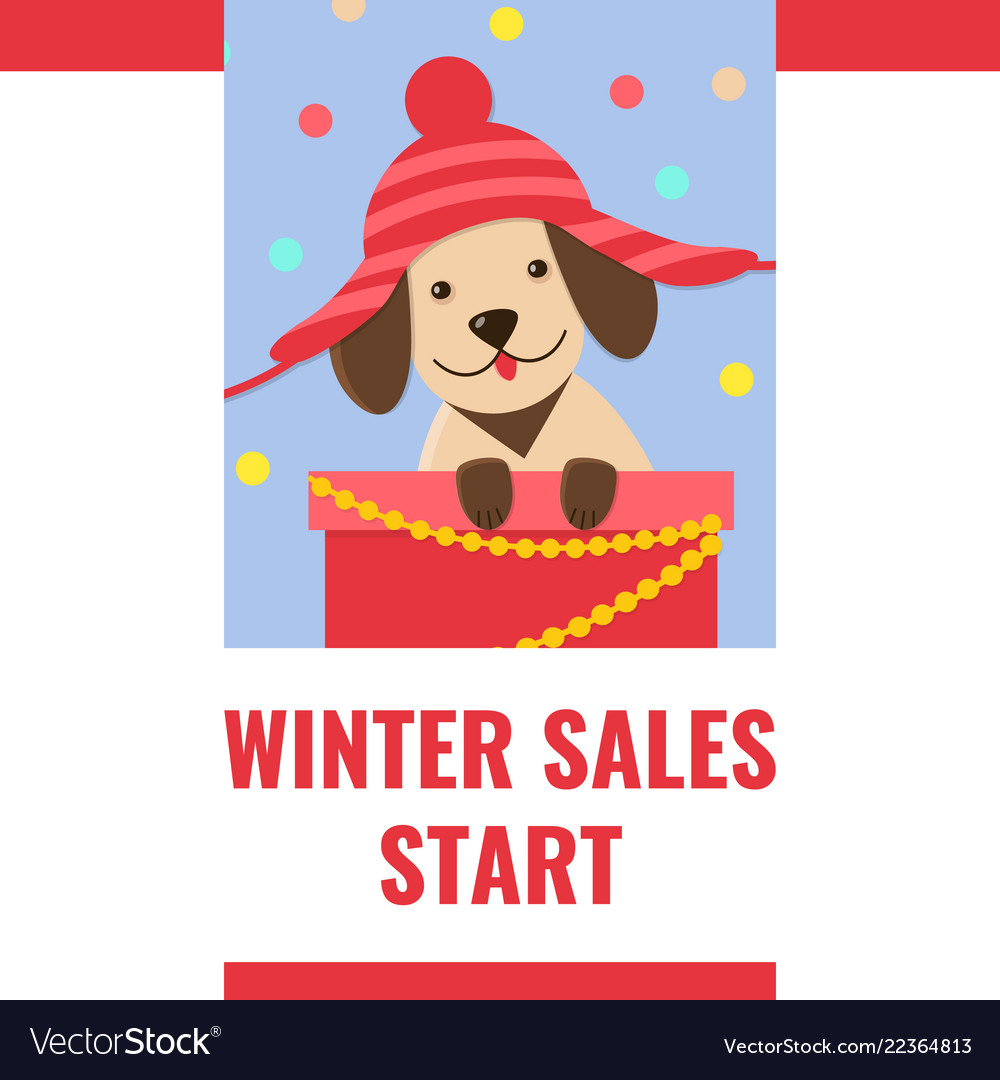 Winter sale banner with cute puppy in funny hat