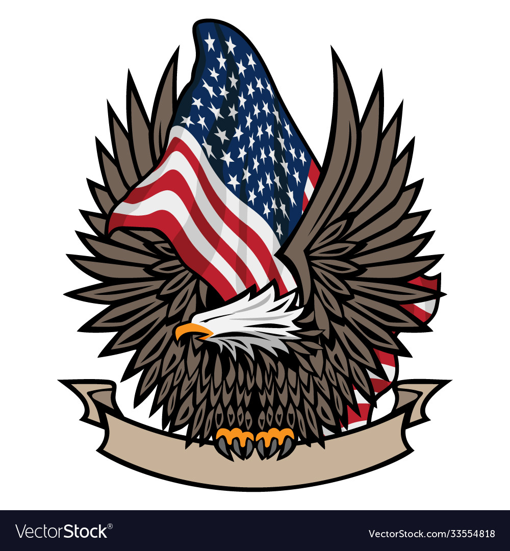American flag with bald eagle and banner