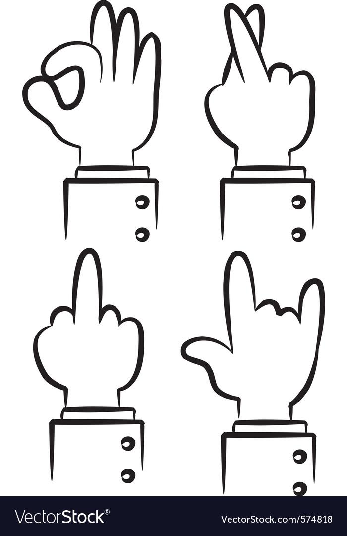 Cartoon hand gesture vector image
