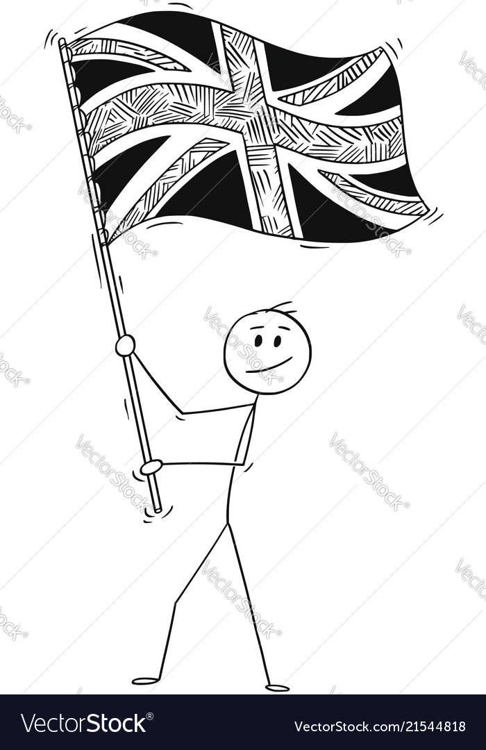 Cartoon of man waving the flag of united kingdom